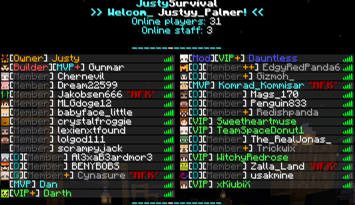 [1.17.1]  ⚔️ [ - JustySurvival - ] ⚔️ | Claim Land 🛕 | MCMMO 🛡️ | Survival 🎒 | Player Shops ⚔️ | Mob Cash 💵 | Minecraft Server
